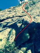 Rock Climbing Photo: Approximate route following the right-facing corne...