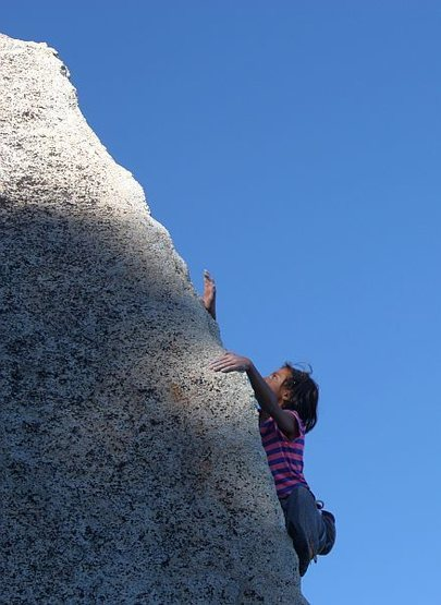 Rock Climbing Photo: Jessica on the Rainbow Arete (5.11+ R), Black Moun...