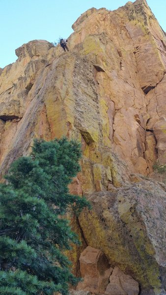 The Pulpit - Rappel station from the rear face, which leads back to the La Luz trail.