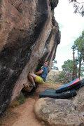 Rock Climbing Photo: Nick on the sit start to Post War Dream.