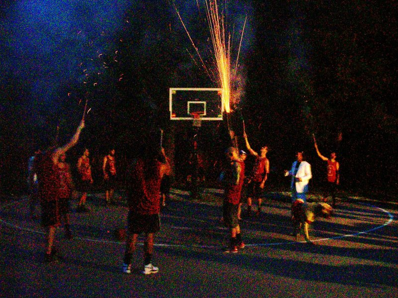 winning team celebrates with fireworks