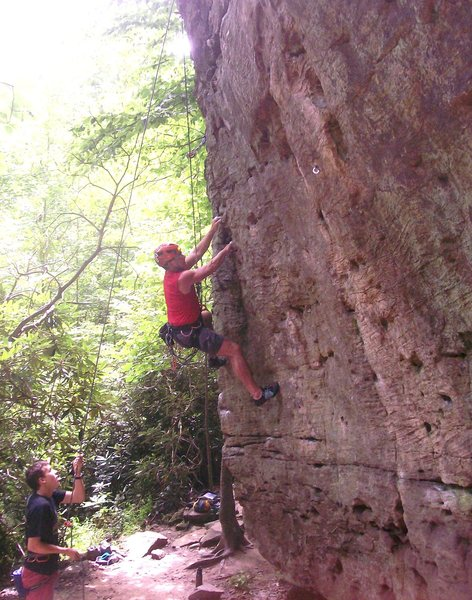 Struggling up the Mercenary of the Mandarin Chicken, 5.9+ at Muir Valley