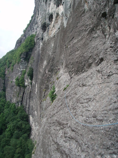 Rock Climbing Photo: Your typical Whiteside runout.  Port of Call ledge...