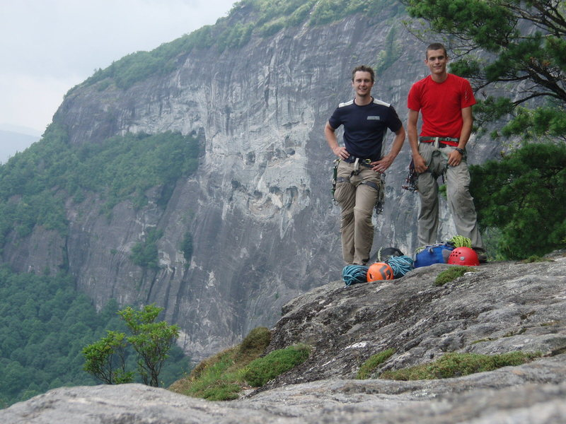 Rock Climbing Photo: Post FA send, with the entire route in the backgro...