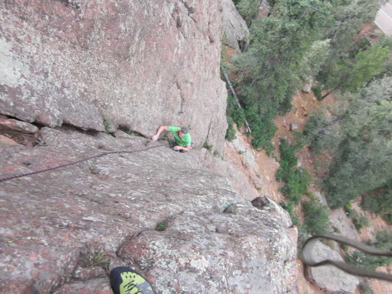 My belayer flying up that wall, awesome job Jeremy!