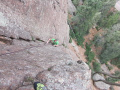 Rock Climbing Photo: My belayer flying up that wall, awesome job Jeremy...