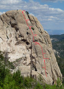 Rock Climbing Photo: Route as seen from Radio Ridge Rd (trail)