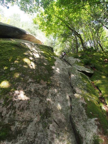 Rock Climbing Photo: Second climber moving up.