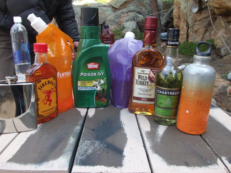 Rock Climbing Photo: ... pick your poison! Scotch, Fireball, Wild Turke...