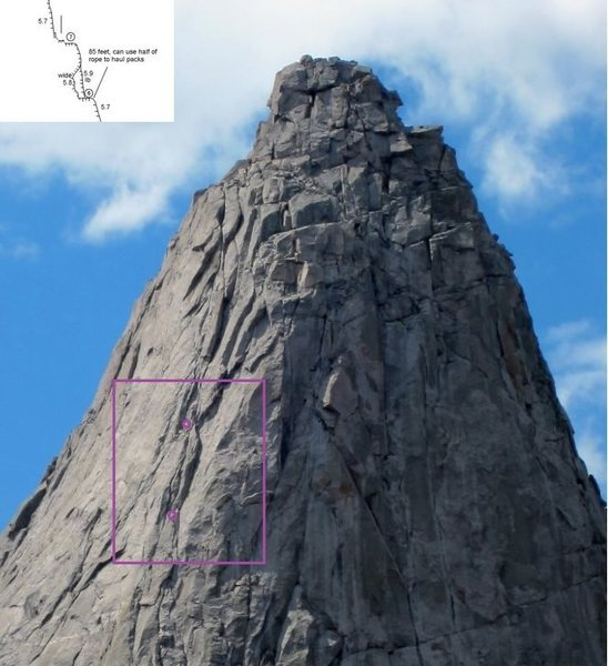 Unmarked-photo credit to SuperTopo user PellucidWombat (http://www.supertopo.com/tr/Pingora-NE-Face/t12248n.html) with overlayed excerpt from SummitPost.org topo