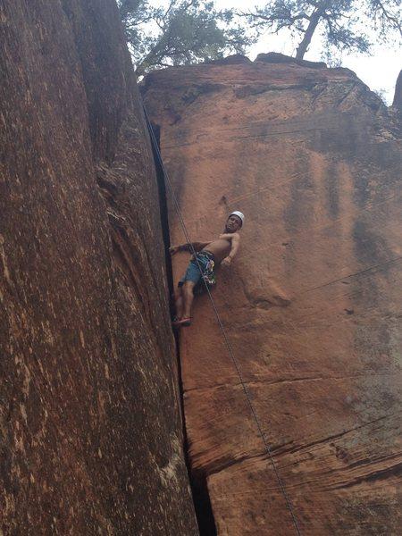 Rock Climbing Photo: Noah on an unnamed 5.9.