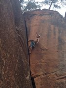 Rock Climbing Photo: Noah on an unnamed 5.9.