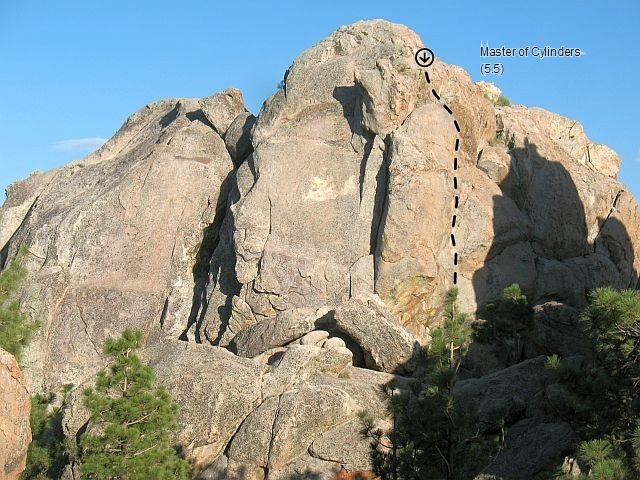 Rock Climbing Photo: Master of Cylinders (5.5), Holcomb Valley Pinnacle...