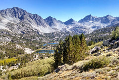 Rock Climbing Photo: Little Lakes Peak on L to Rosy Finch + Pyramid Pea...