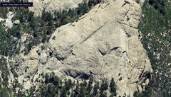Rock Climbing Photo: Rappel Rock aerial view