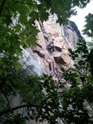 Rock Climbing Photo: Coming onto the steep section on P1 of Punk Wave