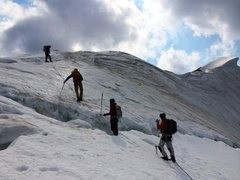 Rock Climbing Photo: Crevasse crossing on the way to the top, Mt. Templ...