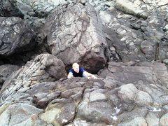 Rock Climbing Photo: Crushing a heinous V0