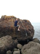 Rock Climbing Photo: The only fixed gear at Sandy Cove.  Keep walking n...