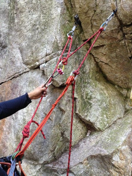 Rock Climbing Photo: Two point rope anchor