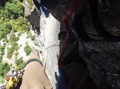 "Rock Climbing Photo: P6 ""Camhook Jesus"" 150 ft of splitter sm..."