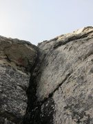 Rock Climbing Photo: This is the pitch after the corner, wide but manag...