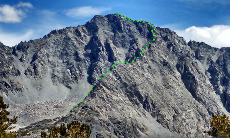 Little Lakes Peak with ascent route NNW Ridge marked
