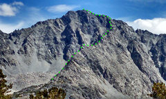 Rock Climbing Photo: Little Lakes Peak with ascent route NNW Ridge mark...