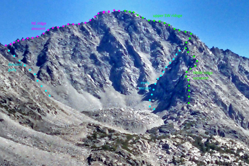 Little Lakes Peak seen from NW, with some ascent and descent routes marked