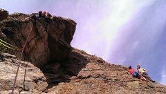 Rock Climbing Photo: Garrett taking a break on the 2nd pitch of Worthy ...