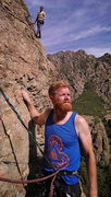 Rock Climbing Photo: Me resting at the top of the first pitch of Worthy...