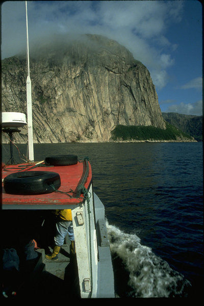 Motoring into the bay for the first time in 1994 aboard George Durnford's boat, Lady One.