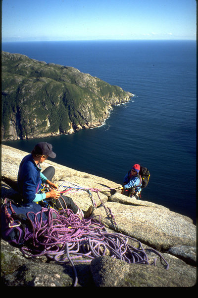 Jeff Butterfield and Chris Kane top out on Blow Me Down's first  route in 1994.  The Central Pillar of Aestheticism.