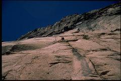 Rock Climbing Photo: Joe T on the first pitch of Janorah.  2000