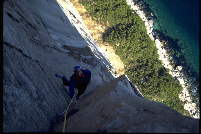 Joe T  high on a beautiful 5.10 corner with Casey Shaw.<br> 1995