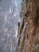 Rock Climbing Photo: Climber on Gettin' Wood on the Spires, Potrero Chi...