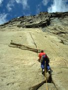 Rock Climbing Photo: Casey Shaw on the first pitch of Leviathan. Screec...