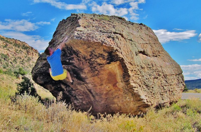 Rock Climbing Photo: Setting up to move on the arete with the right han...