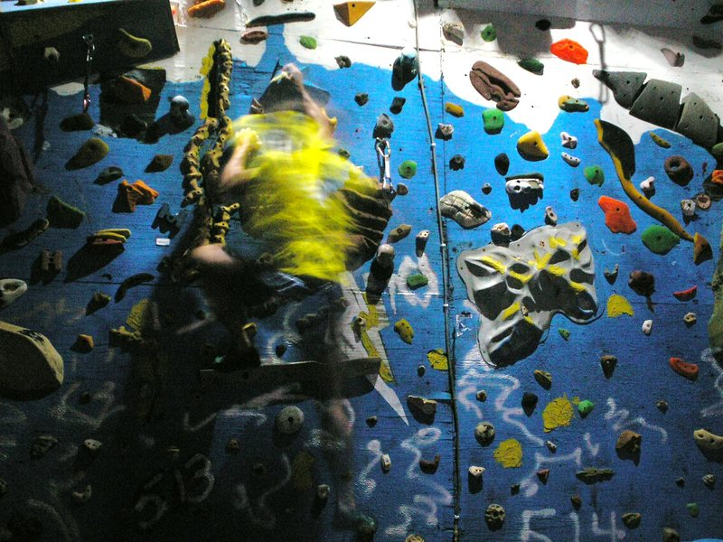 Rock Climbing Photo: low lights, strobe use,,,results still a blur.