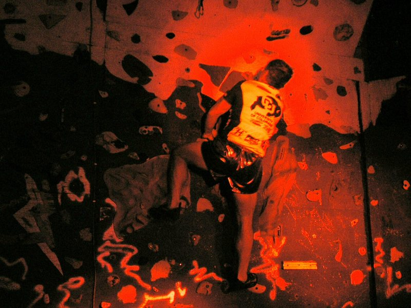 Rock Climbing Photo: Lit only by 3 red IR headlamps