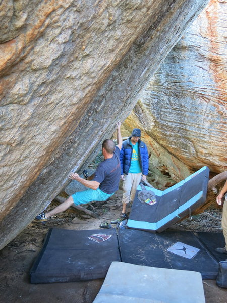 Rock Climbing Photo: A friendly Italian climber gives Caroline a burn.