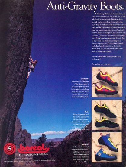 Boreal advert (1990) with John Bachar soloing <em>Gravity</em> (5.12a), Dexter Canyon<br> <br> Photo: Bachar Collection