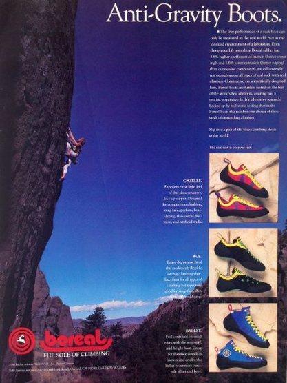 Rock Climbing Photo: Boreal advert (1990) with John Bachar soloing Grav...