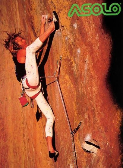 Asolo advert (1990) featuring Wolfgang Schweiger on the <em>Rainbow Wall</em> (5.13a), Eldorado Canyon<br> <br> Photo by Brian Bailey (http://www.brianbaileyphotography.com/)