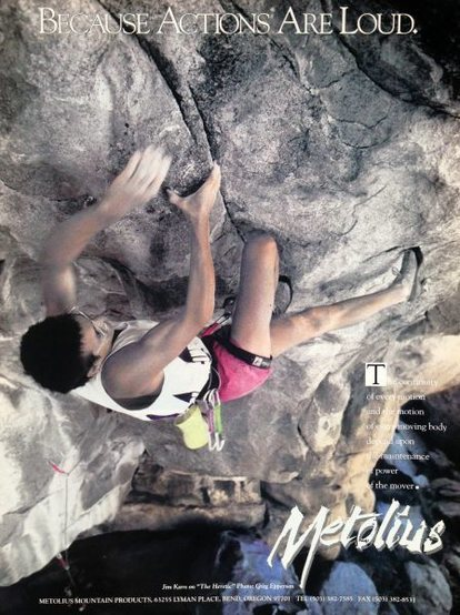 Metolius ad with Jim Karn on <em>The Heretic</em> (5.13b), City of Rocks <br> <br> Photo by Greg Epperson