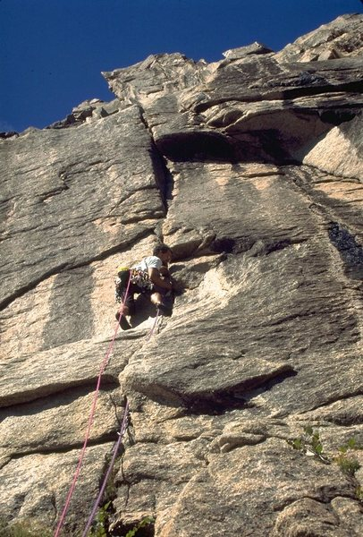 Joe T on the 1st ascent of Lost at Sea.