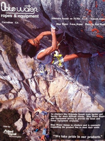 Bluewater ad (1987) with Hidetaka Suzuki on <em>Puma</em> (5.13), Donner Summit<br> <br> Photo by Earl Redfern
