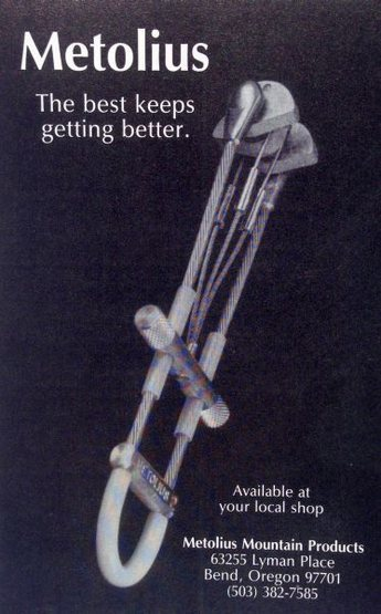 Metolius ad (1987) with the TCU