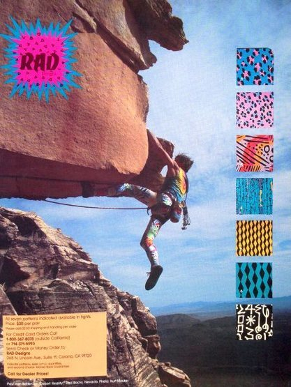 Rad Designs ad (1987) with Paul Van Betten on <em>Desert Reality</em> (5.11c), Red Rock<br> <br> Photo by Kurt Maurer