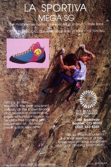 The Boulder Mountaineer ad (1987) with Dale Bard on <em>Taco Chips</em> (5.12d), Smith Rock<br> <br> Photo by Beth Wald